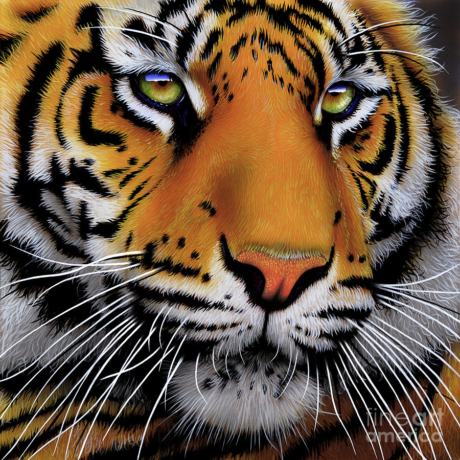November Tiger Painting  - November Tiger Fine Art Print