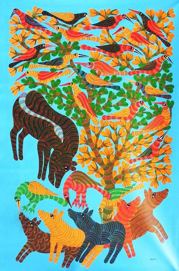 Narmada Prasad Tekam Painting - Npt 53 by Narmada Prasad Tekam