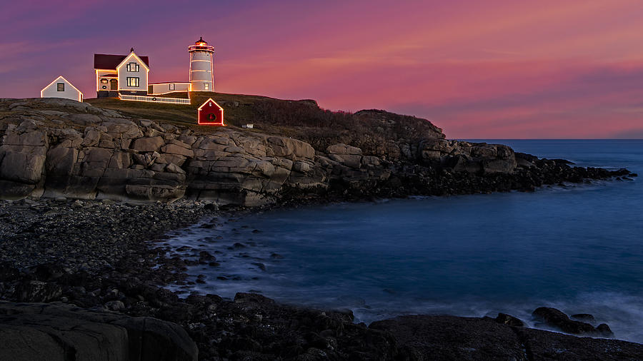 Nubble Lighthouse At Sunset Photograph  - Nubble Lighthouse At Sunset Fine Art Print