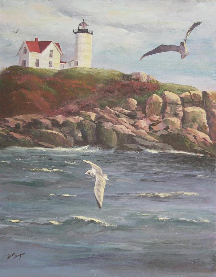 Maine Sea Shore Painting - Nubble Lighthouse by Bev Finger