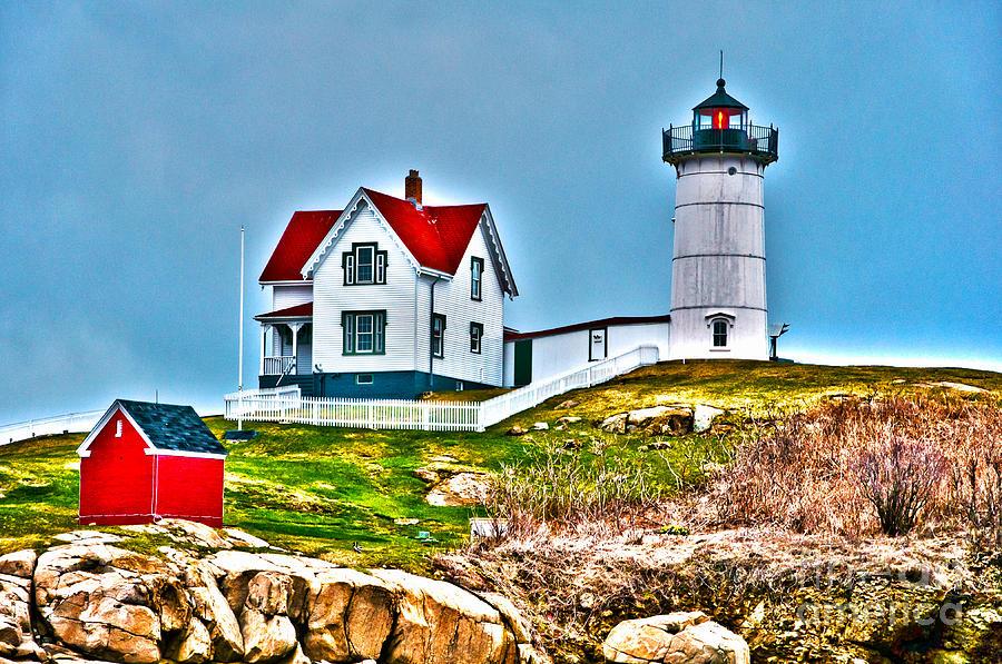 Nubble Lighthouse Photograph - Nubble Lighthouse Cape Neddick Maine 2 by Glenn Gordon