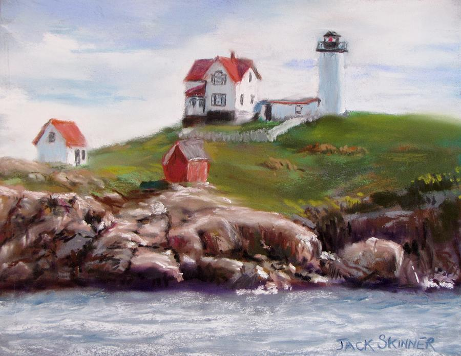 Nubble Lighthouse In Pastel Painting  - Nubble Lighthouse In Pastel Fine Art Print