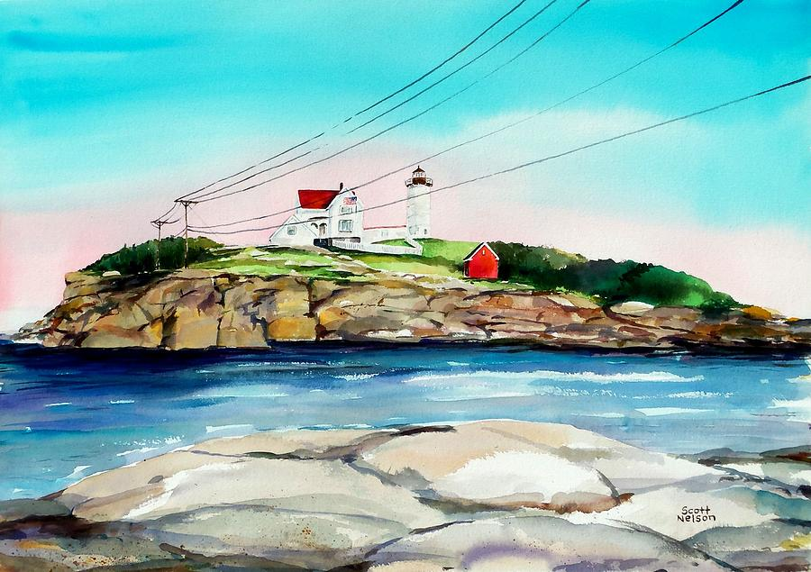 Nubble Lighthouse Maine Painting  - Nubble Lighthouse Maine Fine Art Print
