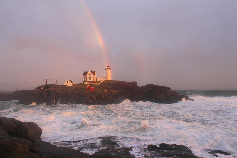 Nubble Lighthouse Rainbow And Surf At Sunset Photograph