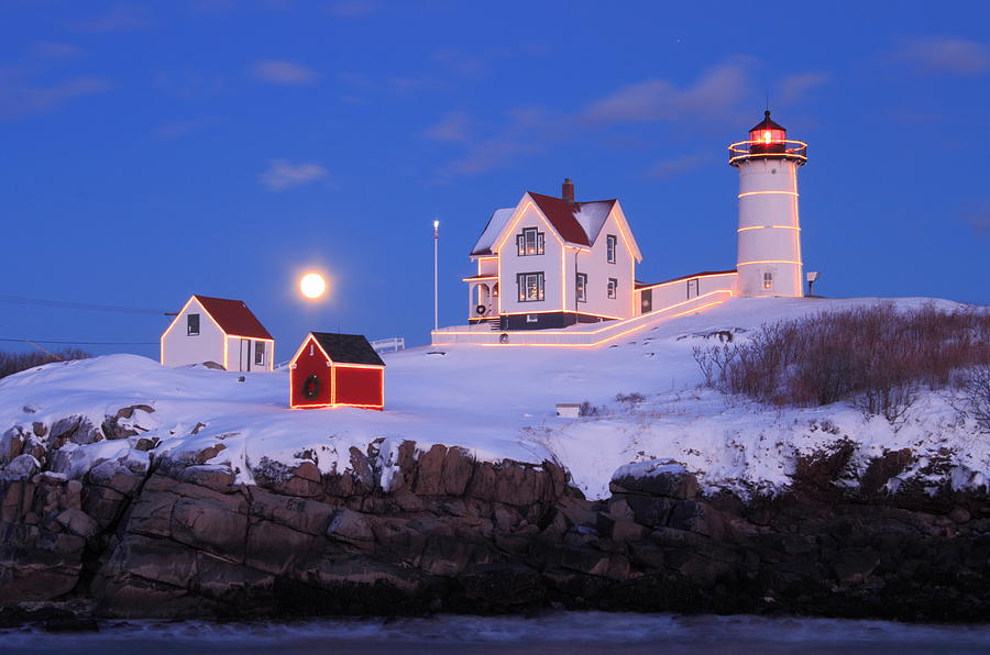 Nubble Lighthouse Winter Moon Photograph  - Nubble Lighthouse Winter Moon Fine Art Print