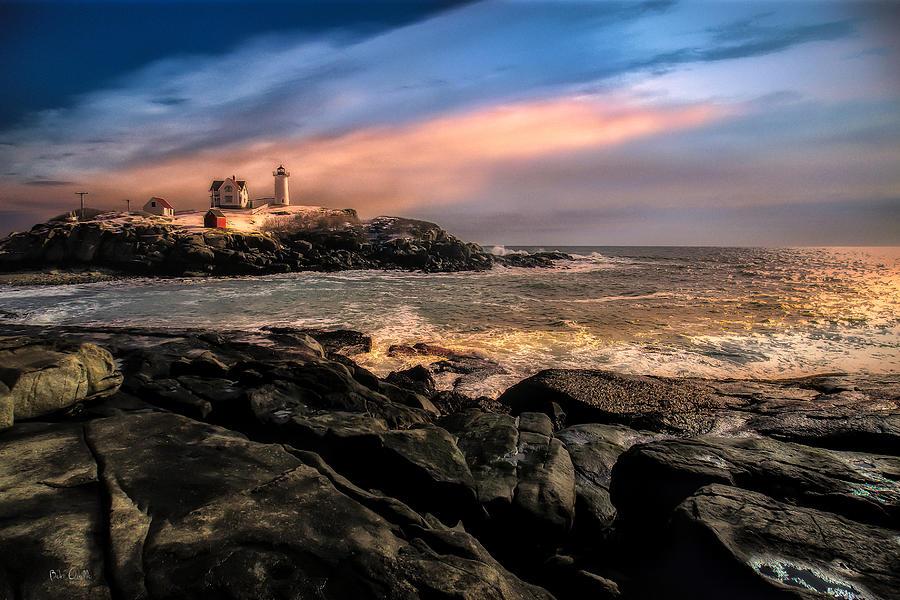 Nubble Lighthouse Winter Solstice Sunset Photograph