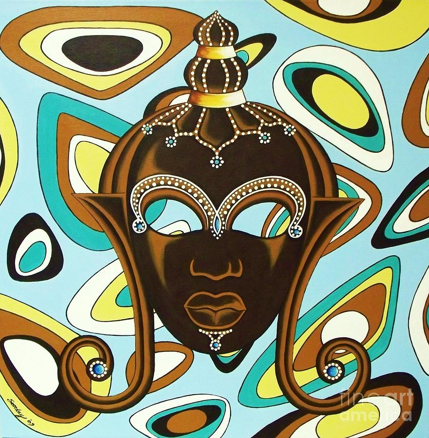 African Mask Painting - Nubian Modern  Mask by Joseph Sonday