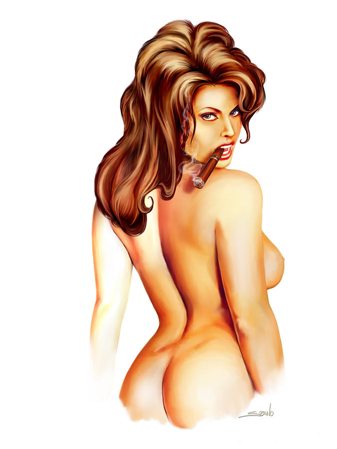 Nude Cigar Girl By Spano Painting  - Nude Cigar Girl By Spano Fine Art Print