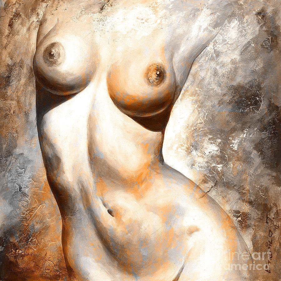 Nude Details - Digital Color Version Rust Painting