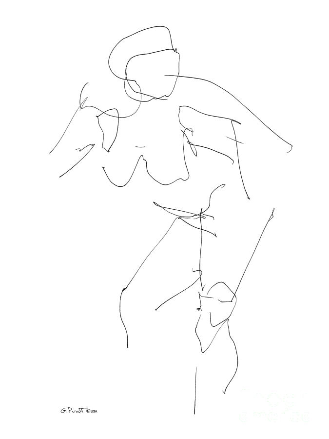 Females Drawing - Nude Female Drawings 14 by Gordon Punt