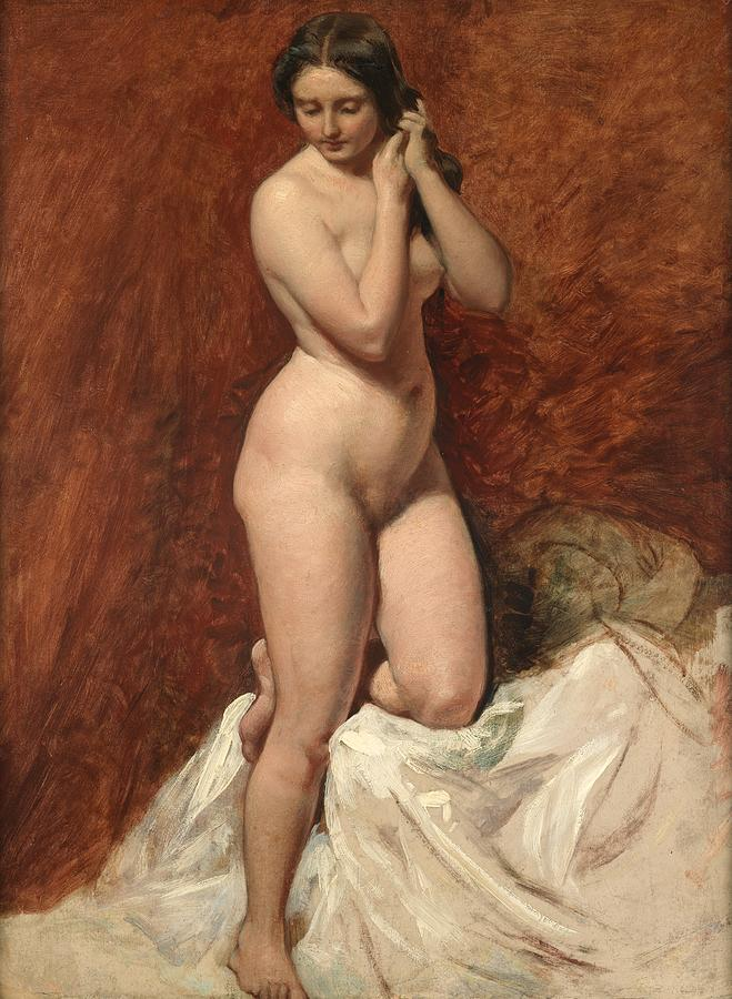 Female; Nude; Full Length; Naked; Curves; Curvy; Woman; Standing; Coy; Front View Painting - Nude From The Front by William Etty