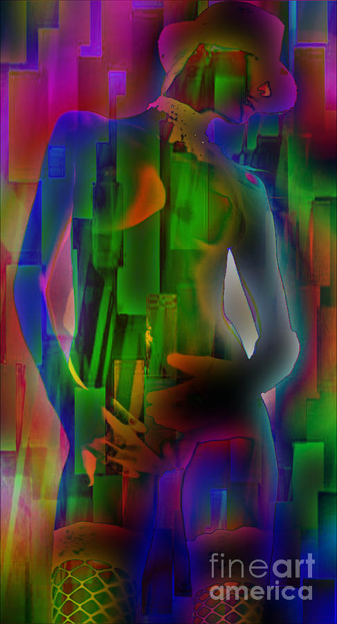 Nude In Green Mixed Media