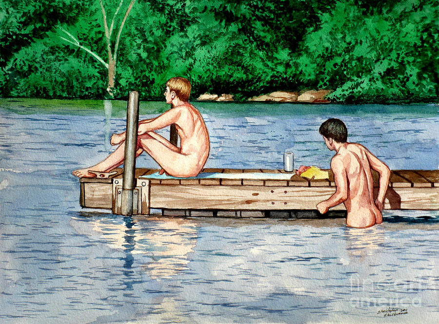 Nude Male Bathers On The Dock Painting