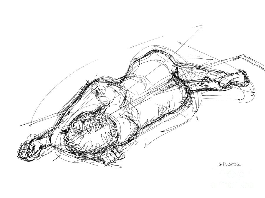 Nude Male Sketches 4 Drawing  - Nude Male Sketches 4 Fine Art Print