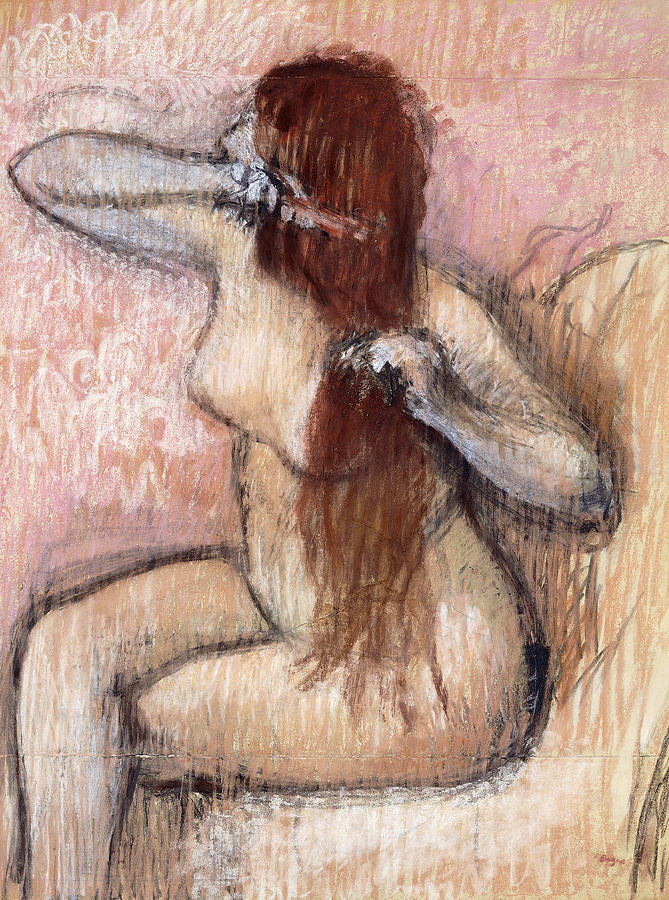 Nude Seated Woman Arranging Her Hair Femme Nu Assise Se Coiffant Painting  - Nude Seated Woman Arranging Her Hair Femme Nu Assise Se Coiffant Fine Art Print