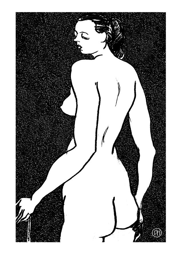 Nude Drawing - Nude Sketch 6 by Leonid Petrushin