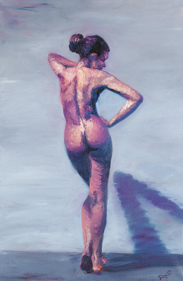 Nude Woman In Finger Strokes Painting  - Nude Woman In Finger Strokes Fine Art Print