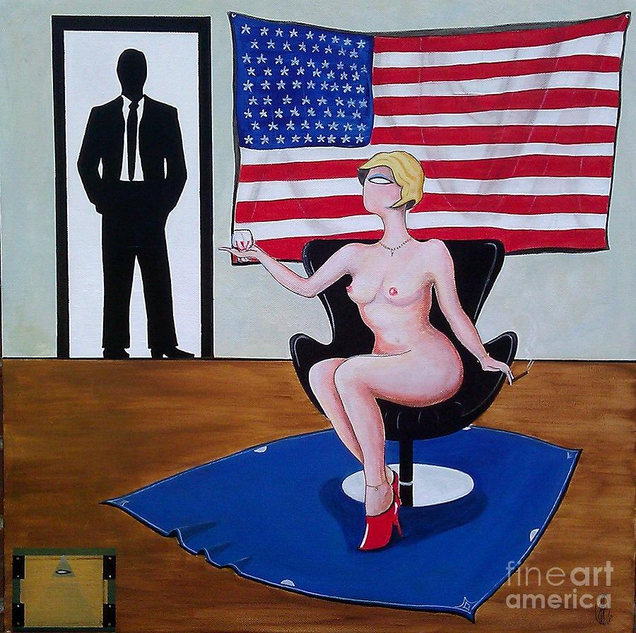 Nude Woman Sitting In Chair With Brandy Painting  - Nude Woman Sitting In Chair With Brandy Fine Art Print