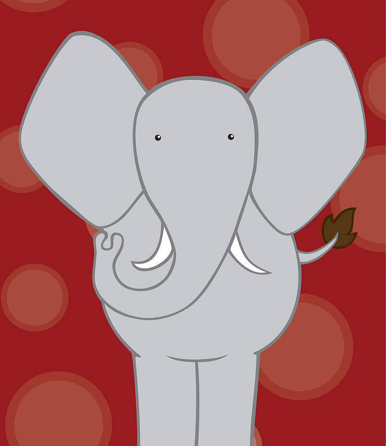 Nursery Art Elephant Red Drawing