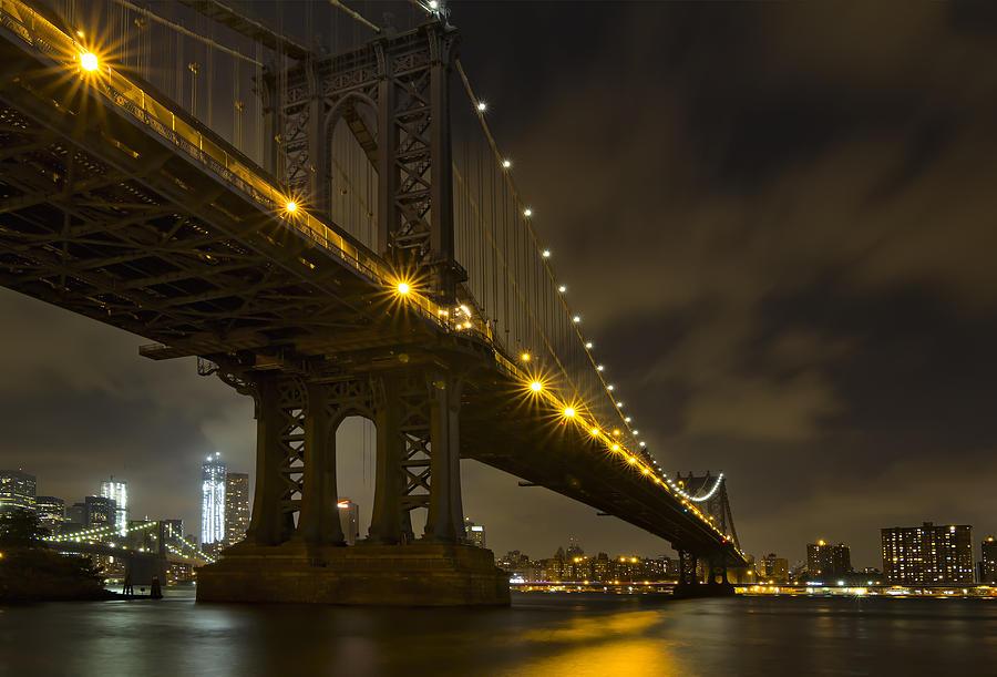 Nyc Bridges At Night Photograph By Eduard Moldoveanu