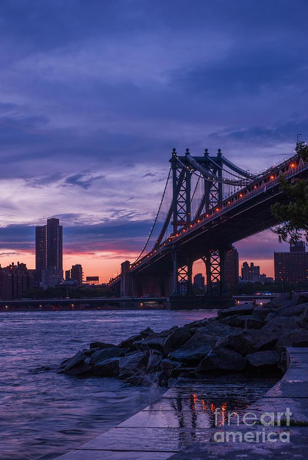 Nyc - Manhatten Bridge At Night II Photograph