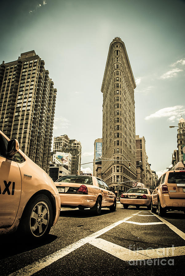 Nyc Yellow Cabs At The Flat Iron Building - V1 Photograph