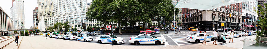 Nypd Cop Cars In Front Of Lincoln Center Photograph  - Nypd Cop Cars In Front Of Lincoln Center Fine Art Print