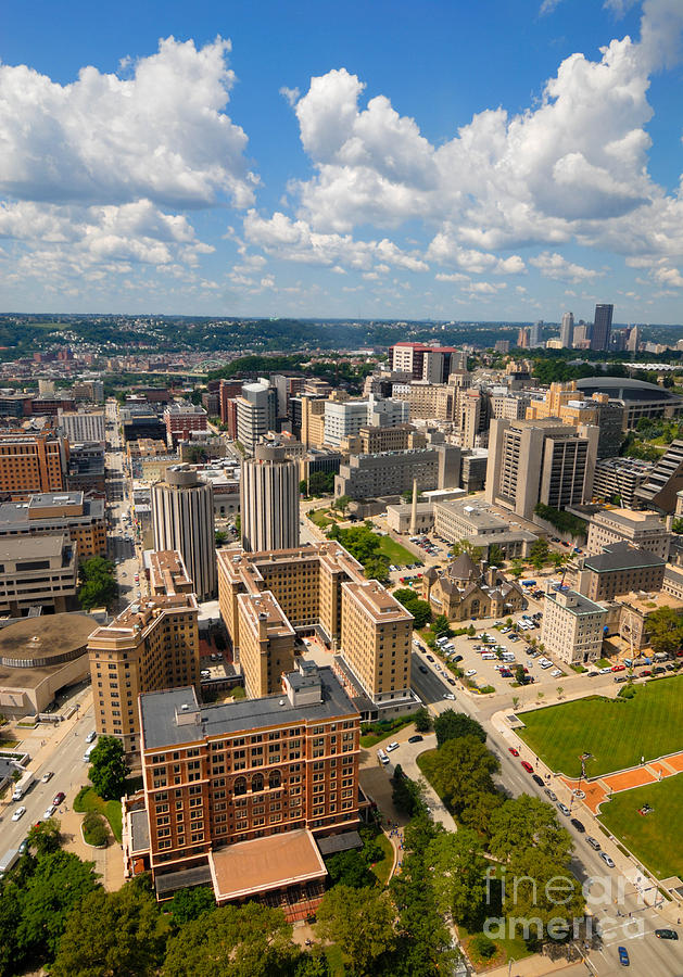 Oakland Pitt Campus With City Of Pittsburgh In The Distance Photograph