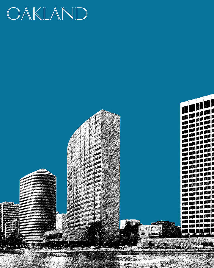 Oakland Skyline 2 - Steel Digital Art