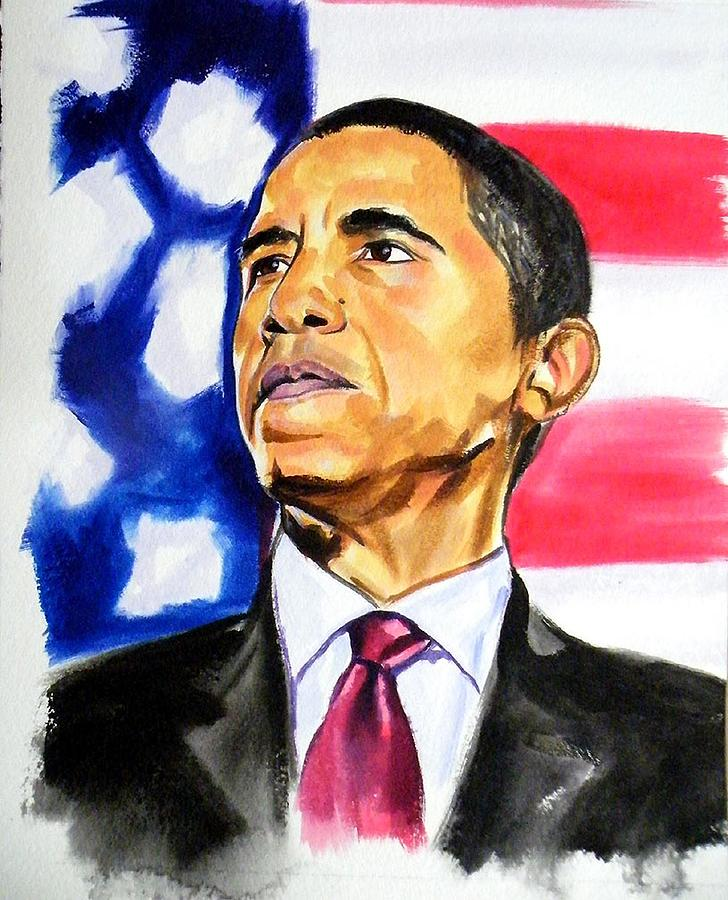 Obama 2012 Reelected 44th  Painting  - Obama 2012 Reelected 44th  Fine Art Print