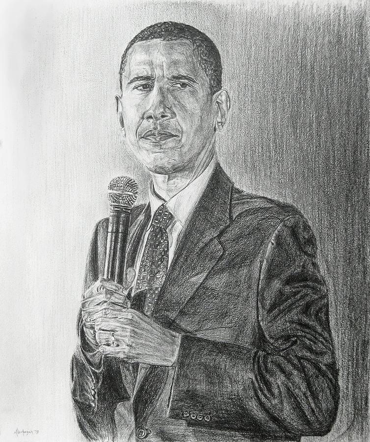 Obama Drawing - Obama 3 by Michael Morgan