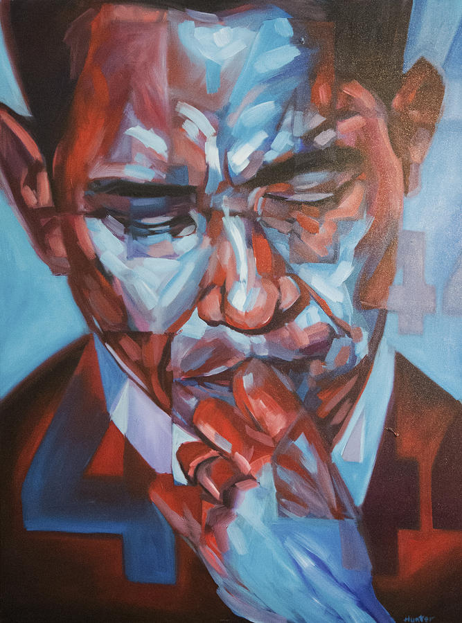 President Barack Hussein Obama 44 Forty-fourth President Of The United States Presidential Portrait America Painting - Obama 44 by Steve Hunter