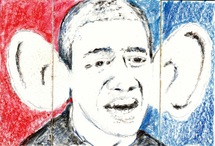 Obama Action Figure Triptych Mixed Media  - Obama Action Figure Triptych Fine Art Print