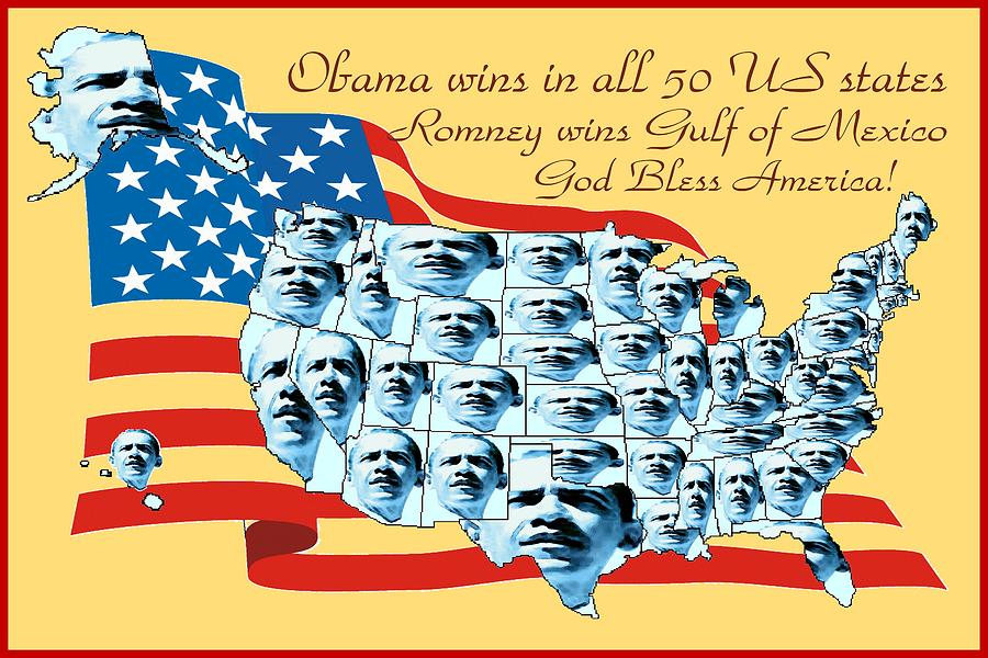 Obama Victory Map America 2012 - Poster Digital Art