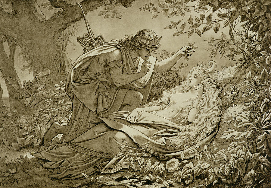 Print Drawing - Oberon And Titania by English School