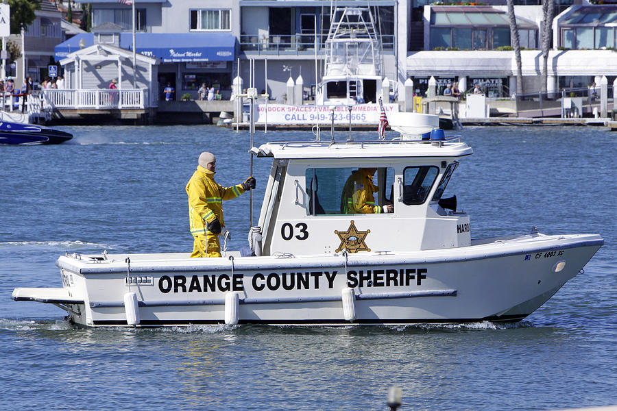 Orange County Sheriff Harbor Patrol Photograph - Oc Sheriff Ready For The Fire by Shoal Hollingsworth