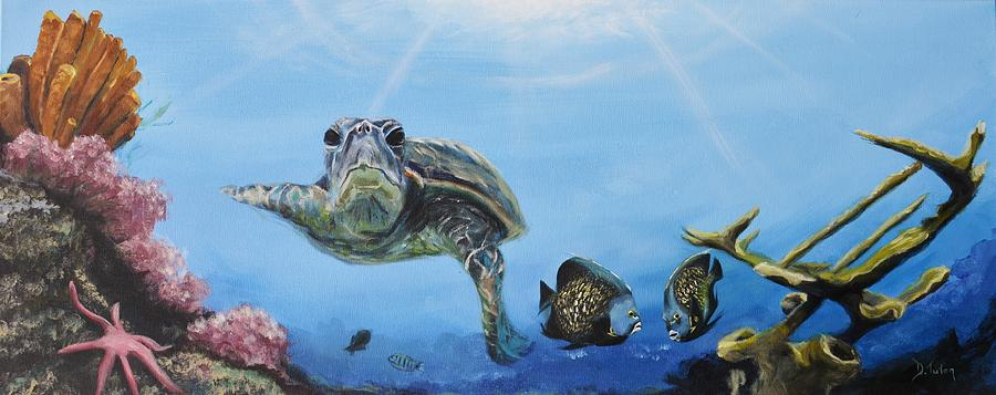 Turtle Painting - Ocean Life by Donna Tuten