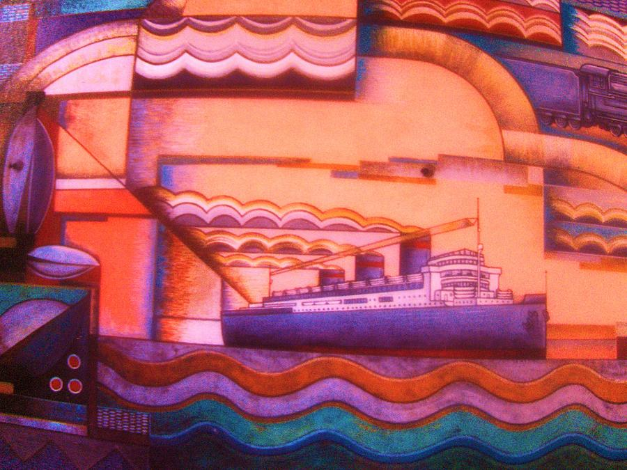 Ocean Liner  -  Art Deco Painting