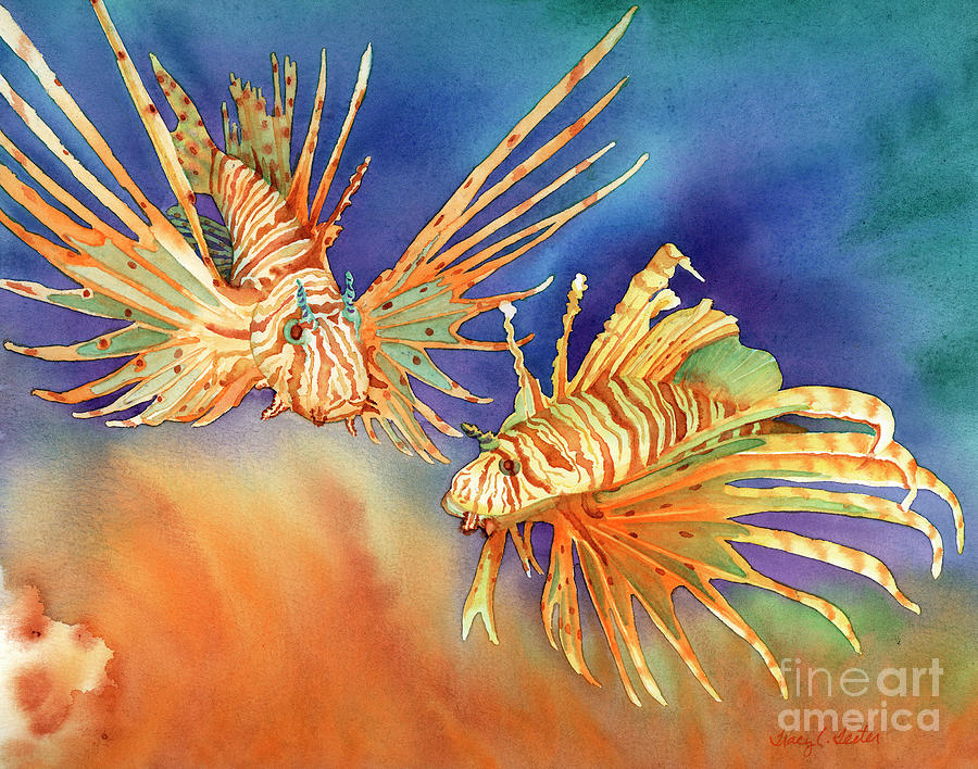 Lionfish Painting - Ocean Lions by Tracy L Teeter