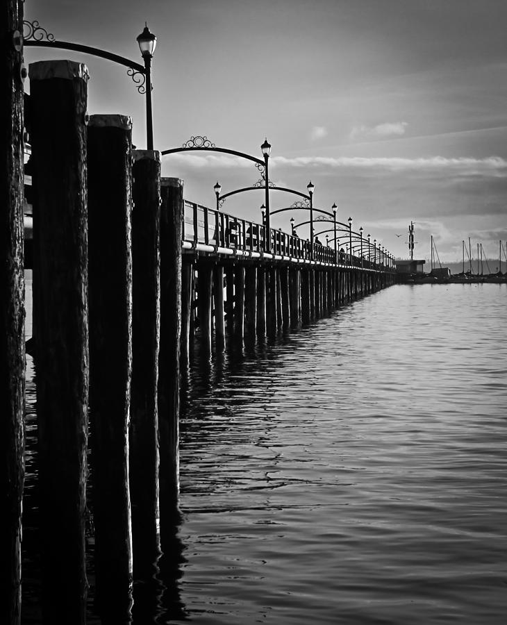 Ocean Pier In Black And White II Photograph