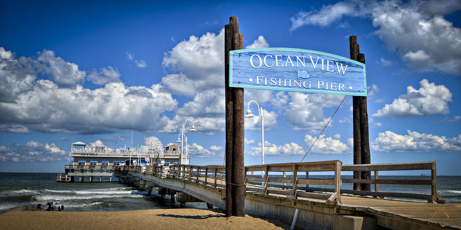 Ocean view fishing pier color photograph by williams for Ocean view fishing pier