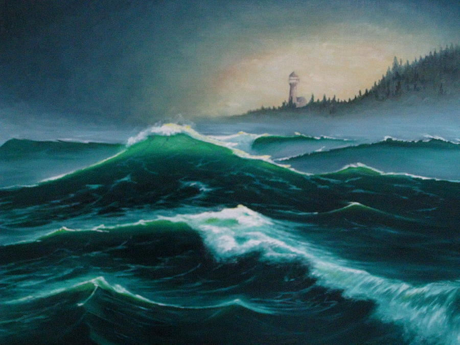 Ocean Wave Study Painting by Sean Taber