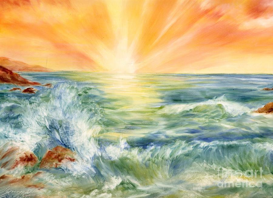 Sunset Painting - Ocean Waves IIi by Summer Celeste