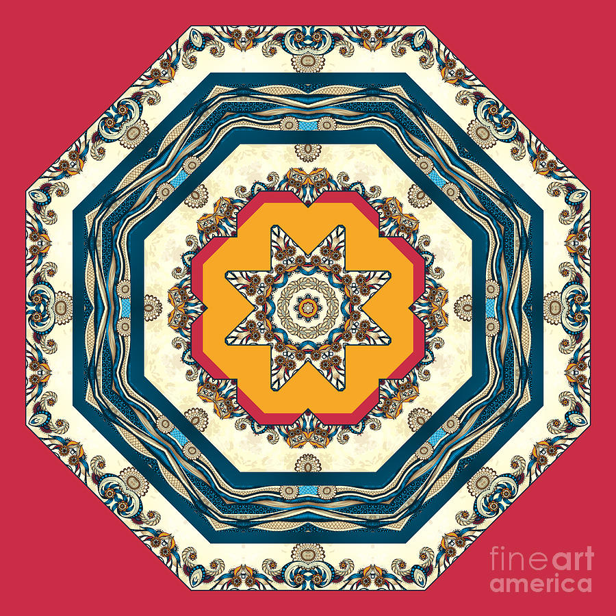 Mandala Digital Art - Ocean Waves - Mandakal 04cm22a by Aimelle