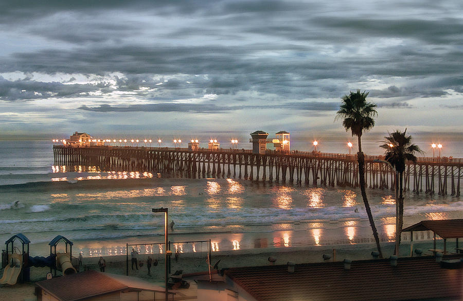 Oceanside Pier At Sunset Digital Art  - Oceanside Pier At Sunset Fine Art Print