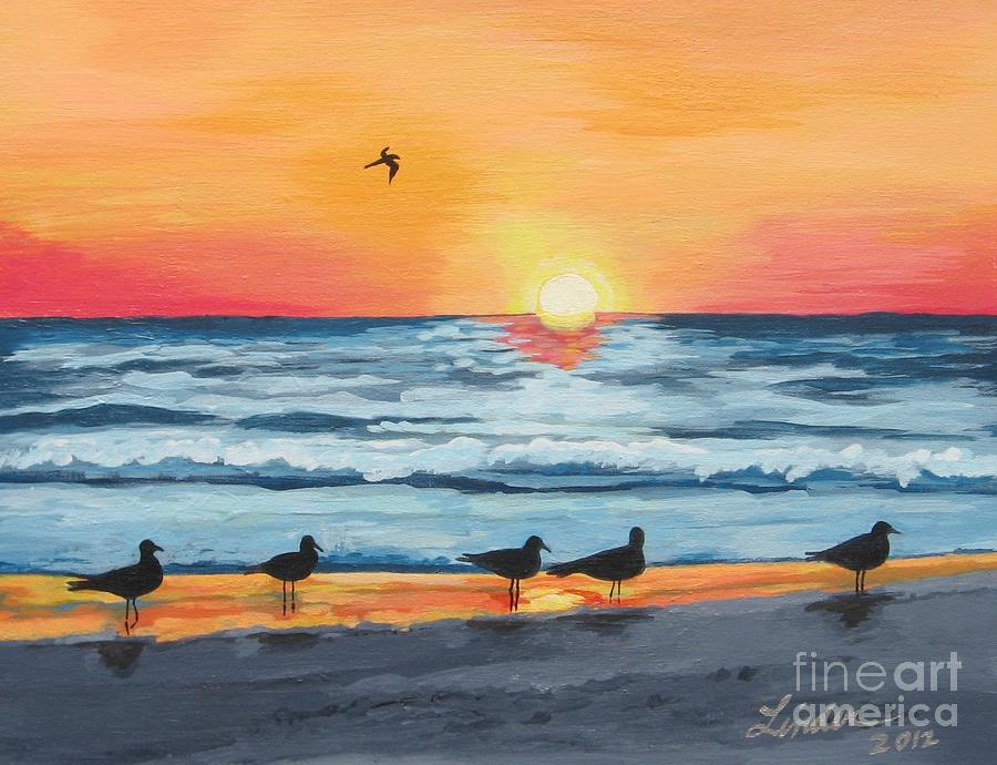 October Sunset On Siesta Key Florida Painting  - October Sunset On Siesta Key Florida Fine Art Print