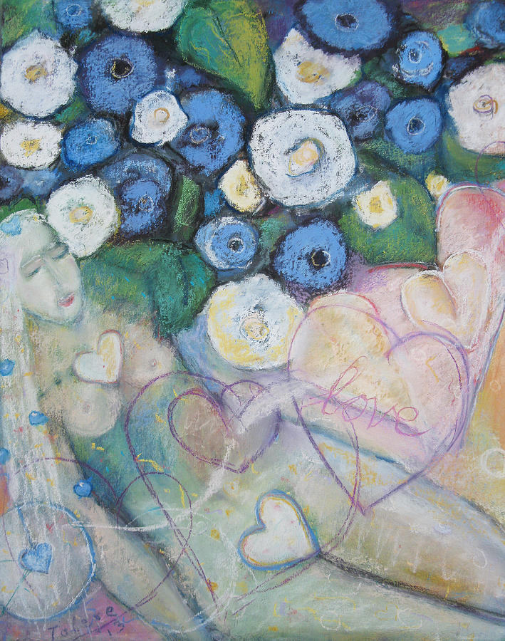 Of Hearts And Flowers Painting  - Of Hearts And Flowers Fine Art Print