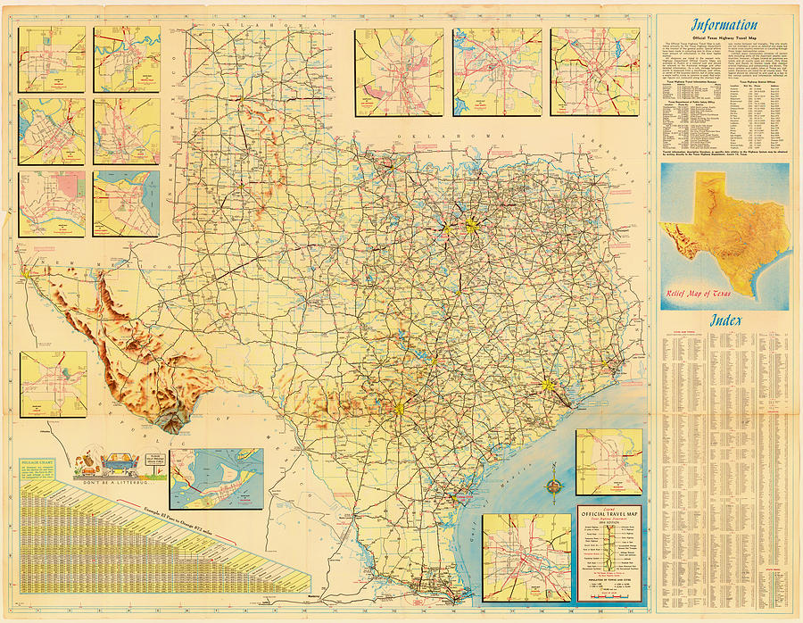 Official Texas Travel Map 1956 Drawing by Mountain Dreams – Texas Travel Map