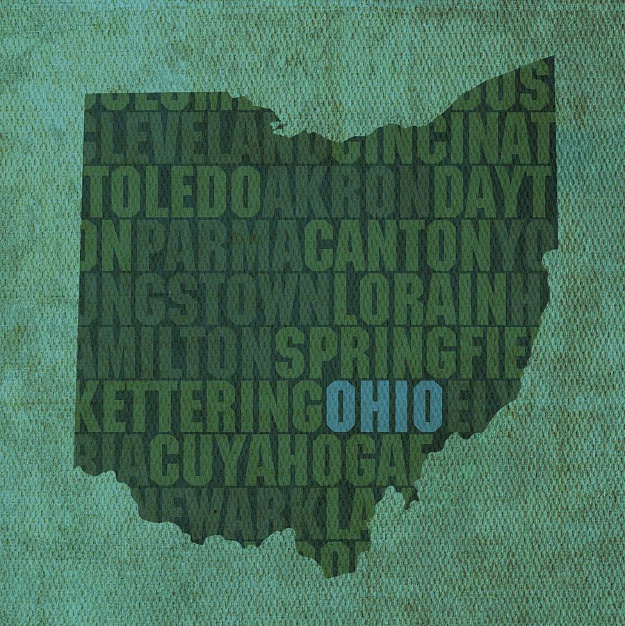 Ohio State Word Art On Canvas Mixed Media - Ohio State Word Art On ...