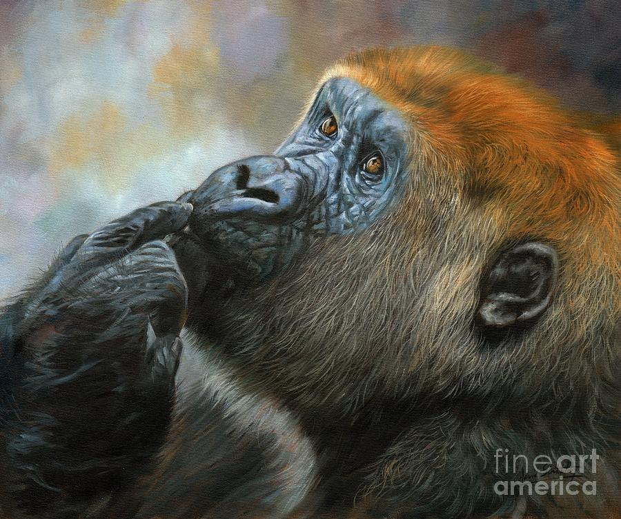 Oil On Canvas-print-gorilla Day Dreams Photograph